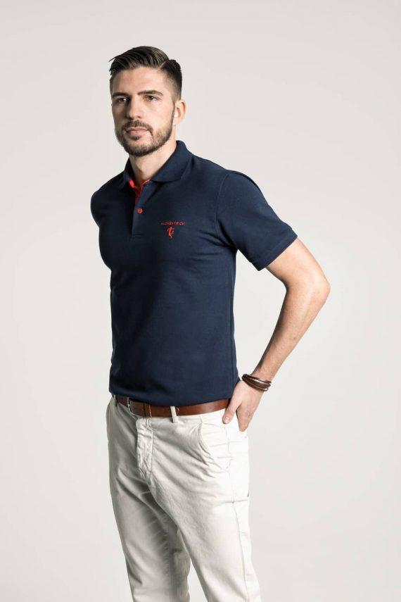 Klassisches Herren Poloshirt in Marineblau - Rot