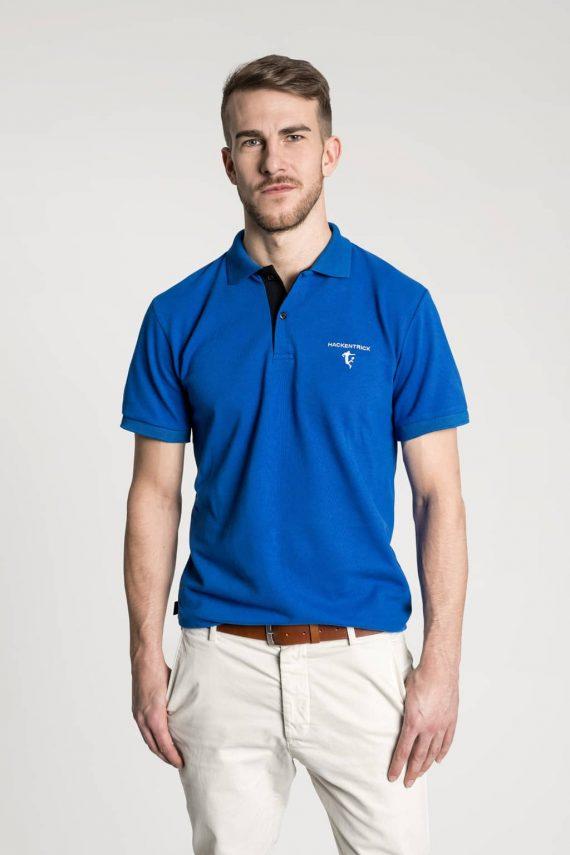 Klassisches Herren Poloshirt in Mittelblau-Schwarz