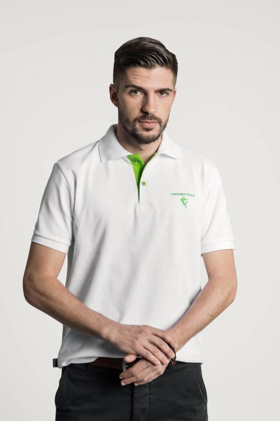 Klassisches Herren Poloshirt in Weiß-Grün