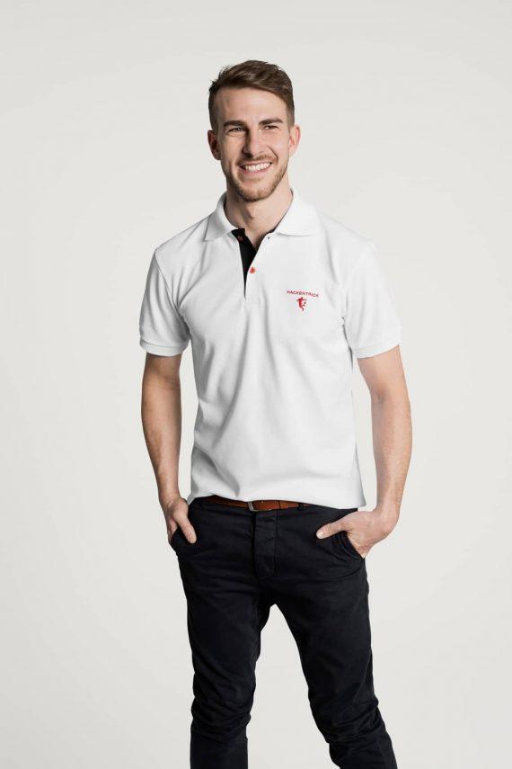 Klassisches Herren Poloshirt in Weiß - Schwarz