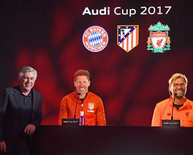Carlo Ancelotti, Diego Simeone, Jürgen Klopp in einer Presse konferenz beim Audi Cup 2017