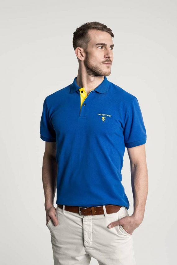 Klassisches Herren Poloshirt in Mittelblau-Hellgelb