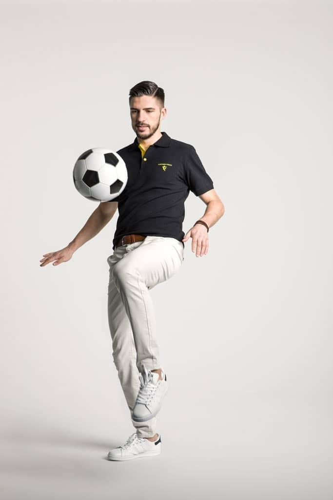 Klassisches Herren Poloshirt in Schwarz - Gelb
