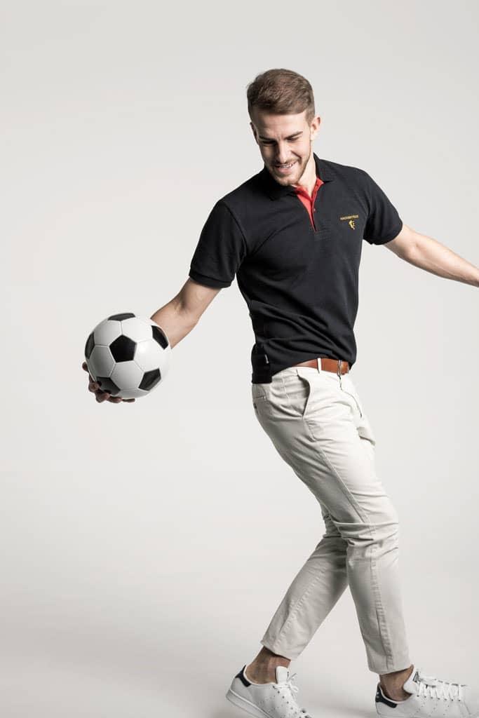 Klassisches Herren Poloshirt in Schwarz - Rot - Gold